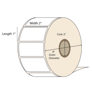 "LabelBasic 2 x 1 inch glossy label roll. 2"" inner core and 4 inch outer diameter"