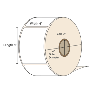 """LabelBasic 4 x 6 inch matte label roll. 2"""" inner core and 4 inch outer diameter"""